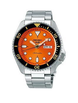 seiko-seiko-5-stainless-steel-orange-dial-black-accent-bezel-bracelet-watch