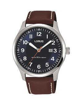 lorus-lorus-classic-brown-leather-strap-navy-dial-watch