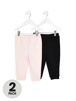 River Island Mini River Island Mini Mini Girls 2 Pack Jog Pants-Pink/Black Picture