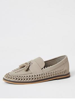 River Island River Island Boys Woven Tassel Loafers - Grey Picture