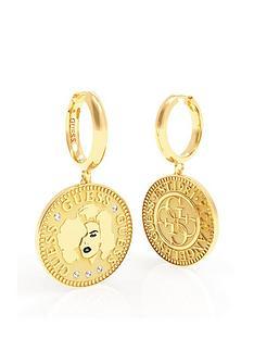 guess-coin-drop-hoop-earrings