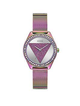 guess-guess-tri-glitz-multi-coloured-glitz-logo-dial-mesh-strap-watch