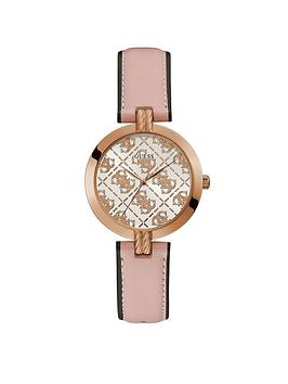 Guess Guess Guess G Luxe Logo Dial Pink Leather Strap Watch Picture
