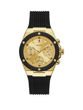 Guess Guess Guess Athena Gold Dial Black Silcone Strap Womens Watch Picture