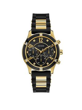 Guess Guess Guess Breeze Gold Black Silicone Strap Womens Watch Picture