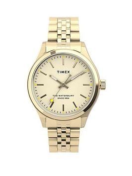 Timex Timex Timex Waterbury Traditional Neaon 34Mm Gold Bracelet Watch Picture