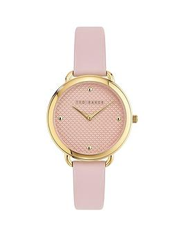 Ted Baker Ted Baker Ted Baker Hettie Gold Dial Pink Leather Strap Watch Picture
