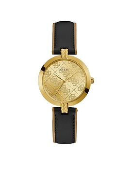 Guess Guess Guess G Luxe Gold Logo Dial Black Leather Strap Watch Picture