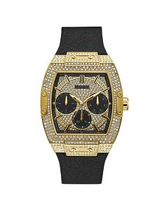 guess-guess-phoenix-gold-and-black-glitz-dial-mens-silicone-strap-watch