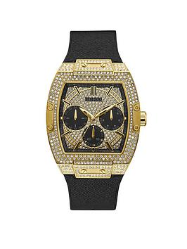 Guess Guess Guess Phoenix Gold And Black Glitz Dial Mens Silicone Strap  ... Picture