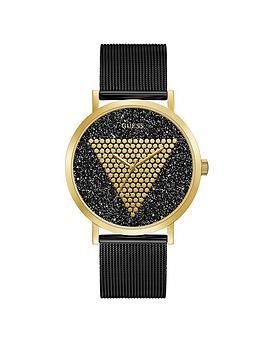guess-guess-imprint-gold-and-black-glitz-logo-mens-mesh-strap-watch