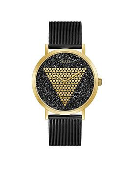 Guess Guess Guess Imprint Gold And Black Glitz Logo Mens Mesh Strap Watch Picture