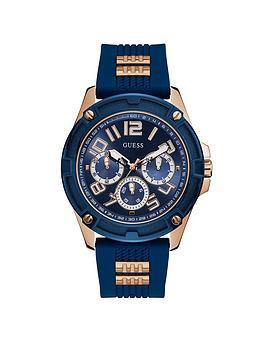 Guess Guess Guess Delta Rose Gold And Blue Mens Silicone Strap Watch Picture