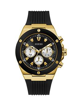 Guess Guess Guess Poseidon Gold And Black Mens Silicone Strap Watch Picture