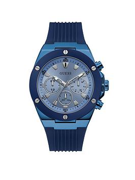 Guess Guess Guess Poseidon Sky Blue Mens Silicone Strap Watch Picture