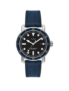 Timex Timex Port 42Mm Blue Leather Strap Watch Picture
