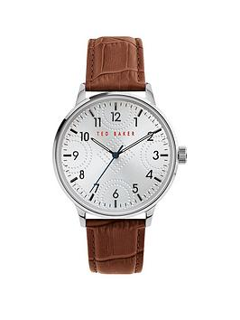 Ted Baker Ted Baker Ted Baker Cosmop Silver Engraved Dial Brown Leather  ... Picture