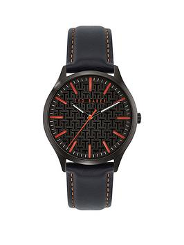 Ted Baker Ted Baker Ted Baker Manhatt Black Leather Strap Watch Picture