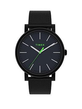 Timex Timex Timex Originals 42Mm Black Leather Strap Watch Picture