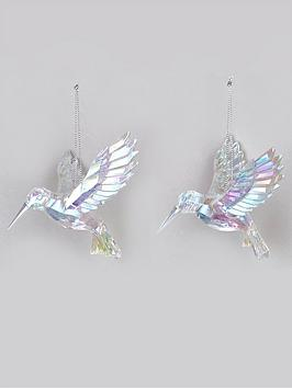 Product photograph showing Festive Set Of 2 Iridescent Hummingbird Hanging Christmas Tree Decorations