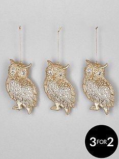 festive-set-of-3-clear-and-gold-owl-hanging-christmas-tree-decorations