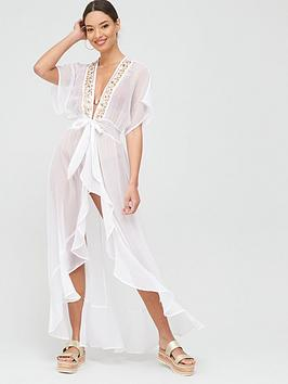 River Island River Island Embellished Beach Waterfall Maxi Kaftan - White Picture