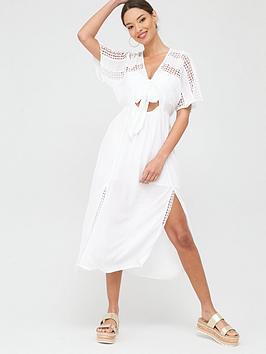 River Island River Island Tie Front Button Beach Midi Dress - White Picture