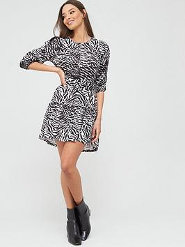 River Island River Island Zebra Print Belted Puff Sleeve Jersey Dress -  ... Picture