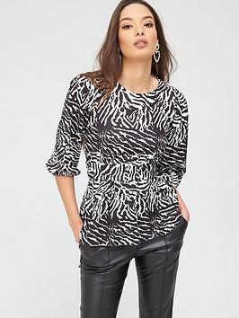 River Island River Island River Island Zebra Print Belted Puff Sleeve  ... Picture