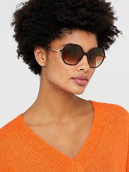 Accessorize   Helena Hexagon Sunglasses - Tortoiseshell