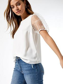 Dorothy Perkins Dorothy Perkins Petite Organza Puff Sleeve Top - Ivory Picture