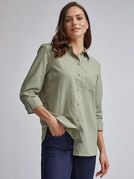Dorothy Perkins Dorothy Perkins Dorothy Perkins Sage Linen Shirt - Sage Picture