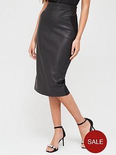 river-island-river-island-pu-front-ponte-back-pencil-midi-skirt-black