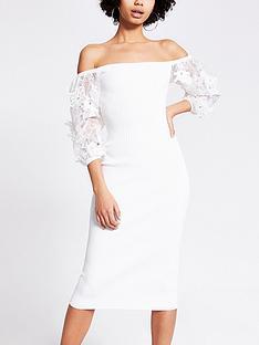 river-island-organza-puff-sleeve-knitted-dress-white