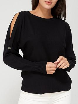 v-by-very-value-cold-shoulder-button-detail-knitted-long-sleeve-top-black