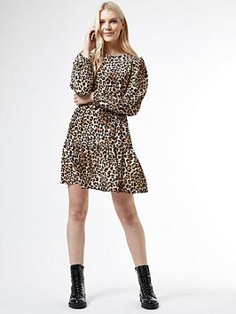 Dorothy Perkins Dorothy Perkins Puff Sleeve Fit And Flare Dress - Animal  ... Picture
