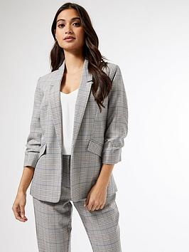 Dorothy Perkins Dorothy Perkins Petite Prince Of Wales Check Ruched Sleeve  ... Picture