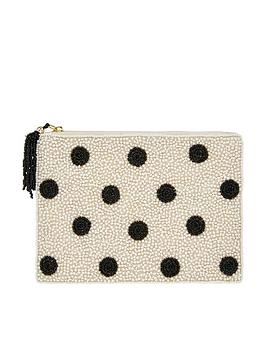 Accessorize Accessorize Polka Dot Embellished Pouch - Black/White Picture