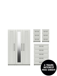regalnbsppackage-part-assemblednbsp3nbspdoor-mirrored-wardrobe-5-drawer-chest-and-2-bedside-chests