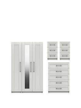 Very Regal Package - Part Assembled 3 Door Mirrored Wardrobe, 5 Drawer  ... Picture