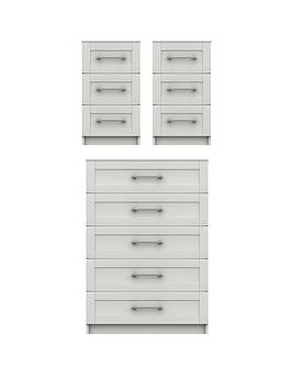 Very Regal Ready Assembled 3 Piece Package - 5 Drawer Chest And Set Of 2  ... Picture
