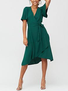 v-by-very-serena-ruffle-wrap-midi-dress-deep-green