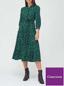 v-by-very-shirt-tiered-midi-dress-green-print