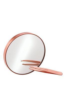 tweezerman-tweezerman-rose-gold-mini-slant-tweezer-10x-mirror