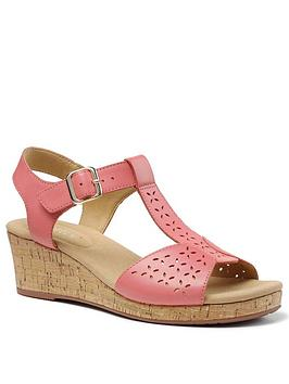 Hotter Hotter Martinique Wedge Heeled T-Bar Sandals - Coral Picture