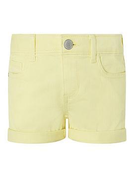 Monsoon Monsoon Girls Layla Denim Shorts - Yellow Picture