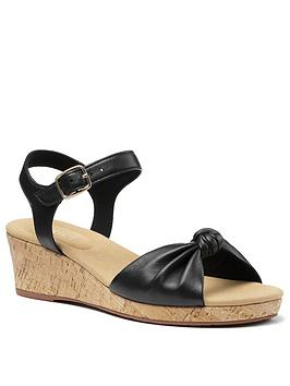 Hotter Hotter Palmas Leather Wedge Heeled Sandals - Black Picture