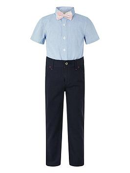 Monsoon Monsoon Boys Martin 3Pc Trouser, Shirt And Bow Tie - Navy Picture