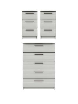 Very Taylor Ready Assembled 3 Piece Package - 5 Drawer Chest And 2 Bedside  ... Picture