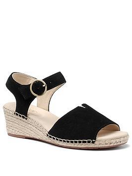 Hotter Hotter Fiji Wedge Ankle Strap Sandals - Black Picture